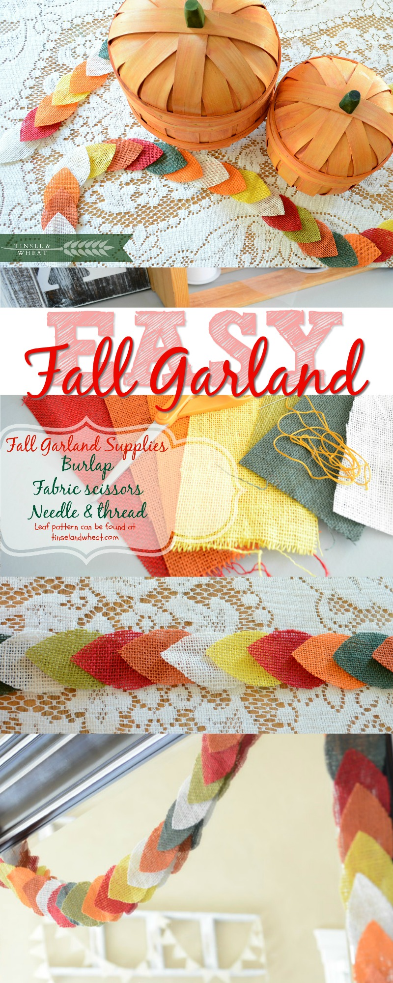 Fall Decor - Easy Fall garland complete with step by step video!