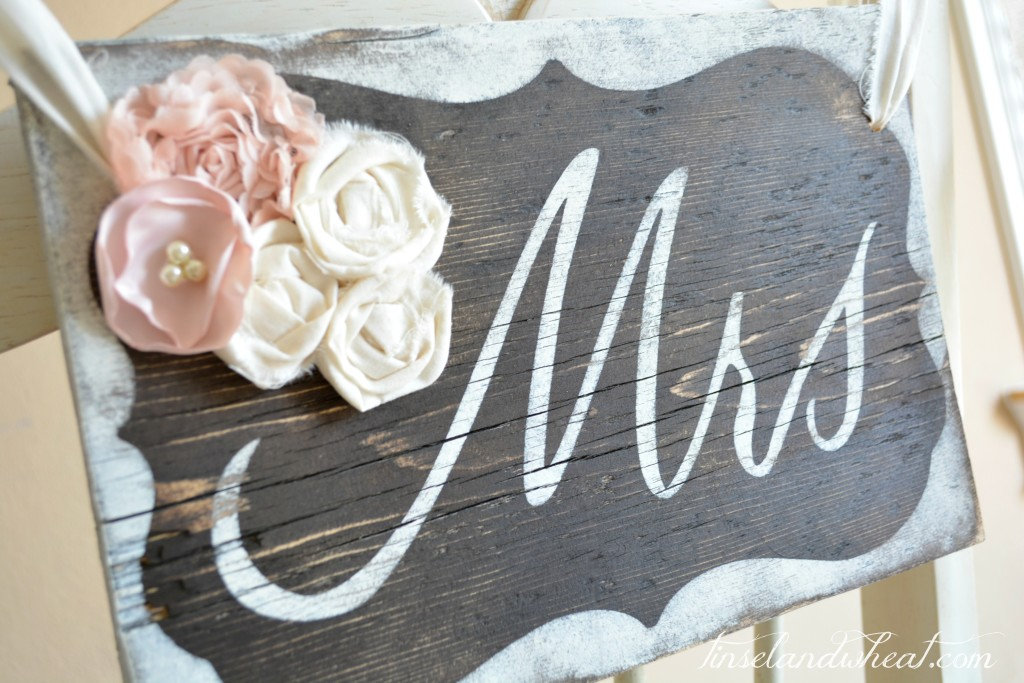 DIY Mr & Mrs Sign with Rossetts