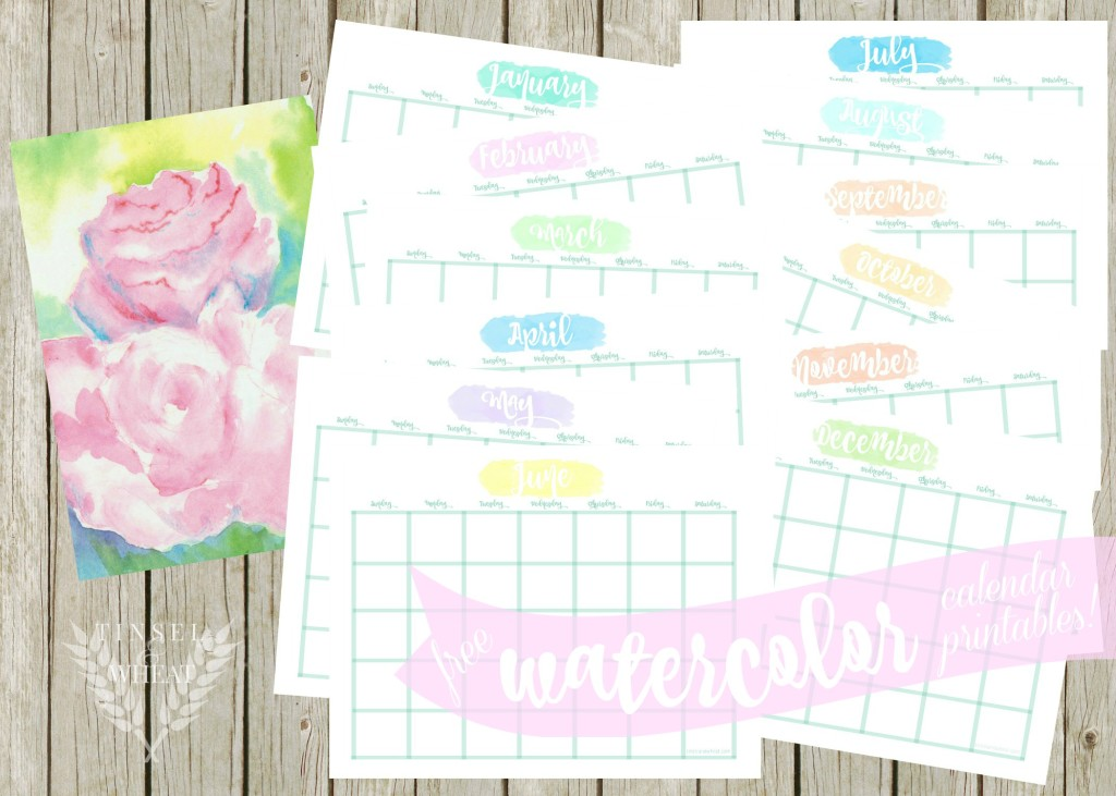 Free Watercolor Calendar Printables by Tinsel & Wheat
