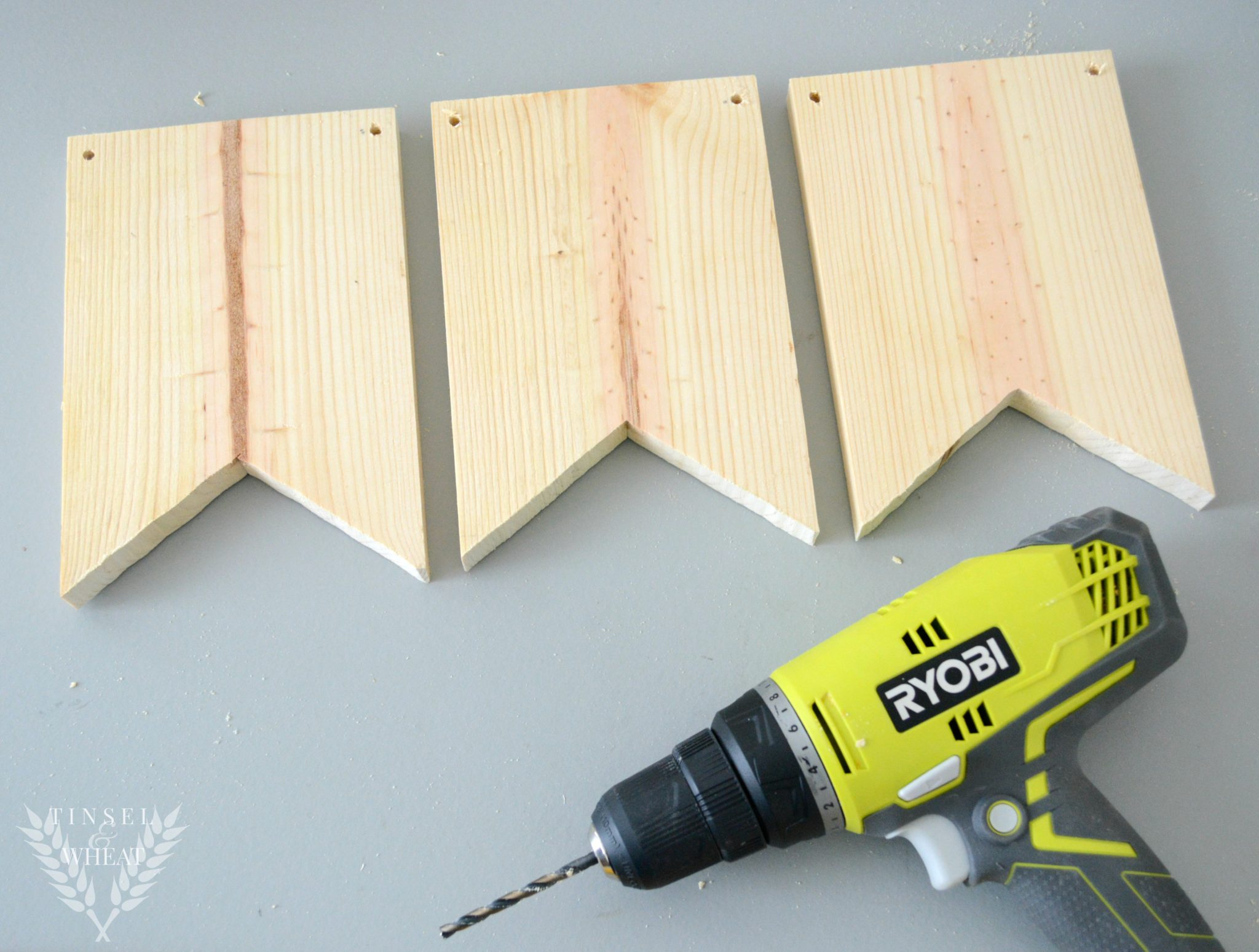 Wood Banner with Drill Holes