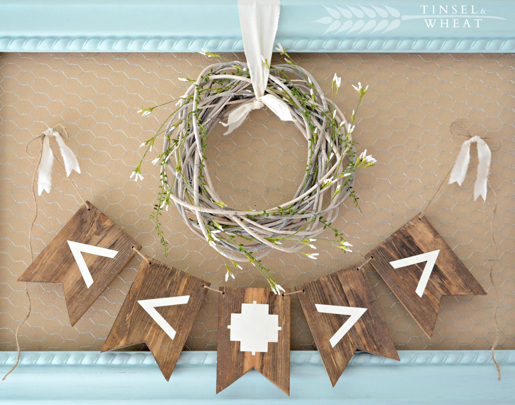 DIY Tribal Wood Banner by Tinsel & Wheat