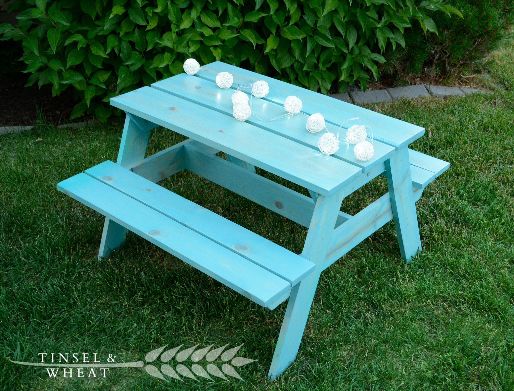 Aqua DIY Kids Picnic Table by Tinsel and Wheat
