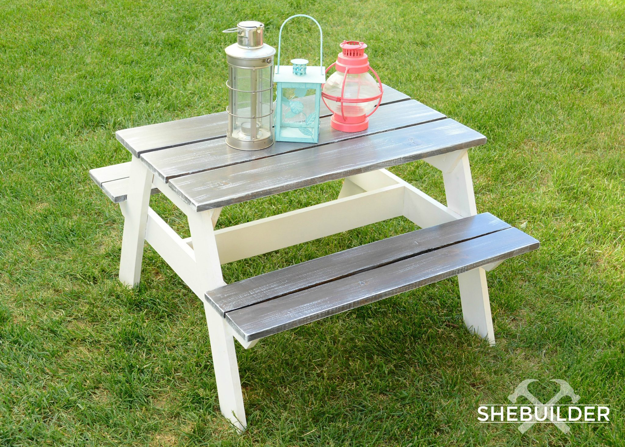 Kids Picnic Table with Grey and White Finish