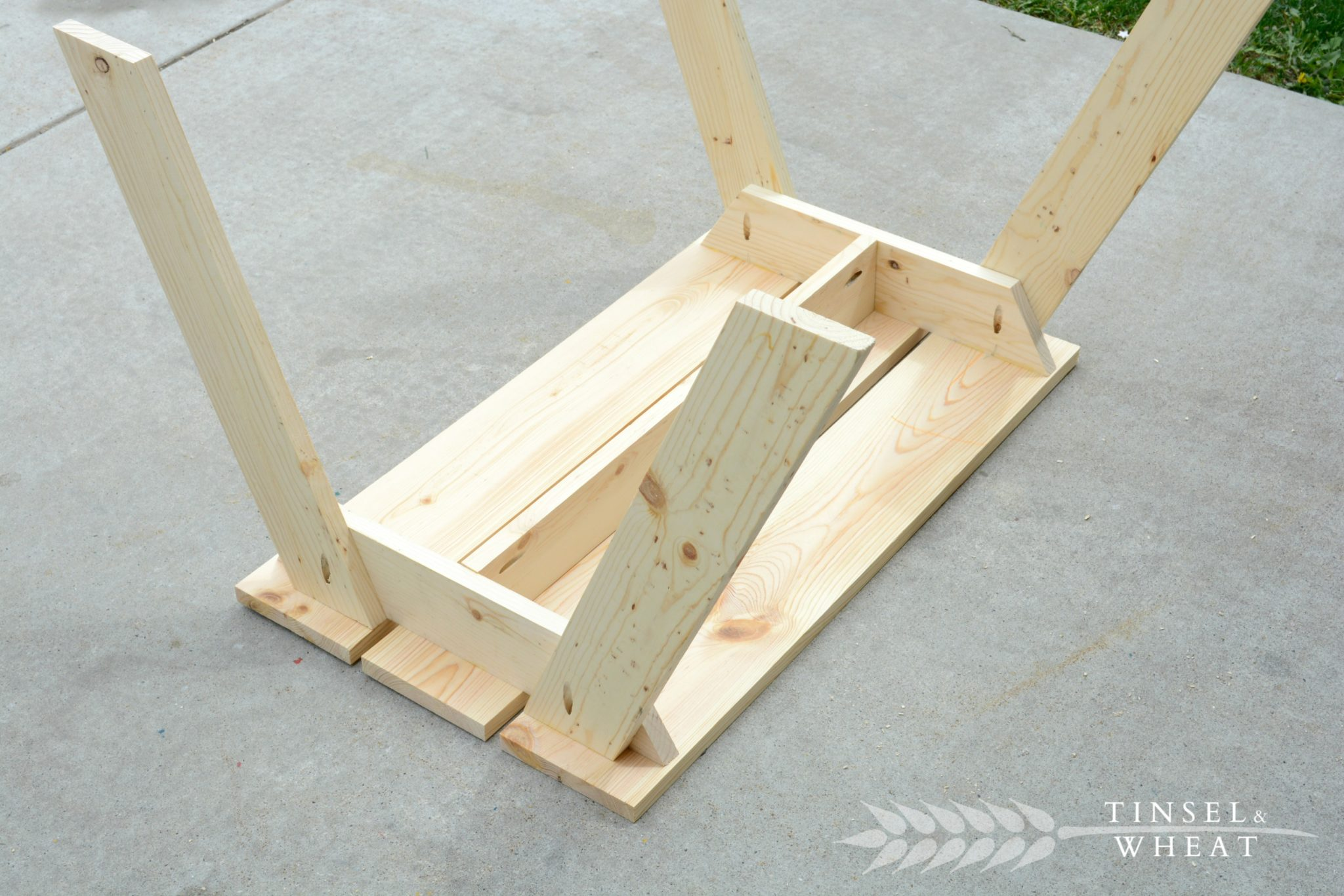 DIY Kids Picnic Table Upside down
