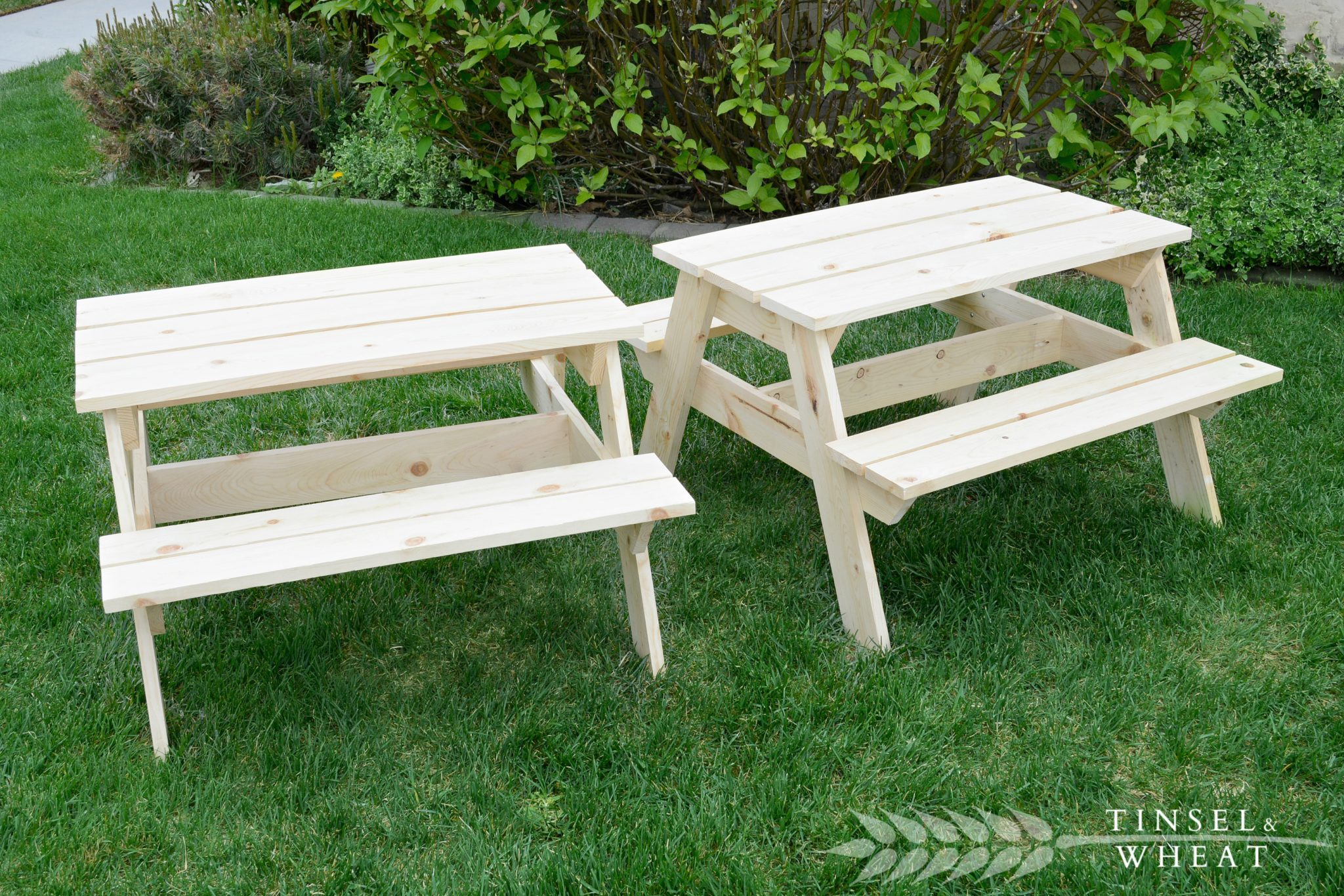Two Unfinished Picnic Tables by Tinsel & Wheat