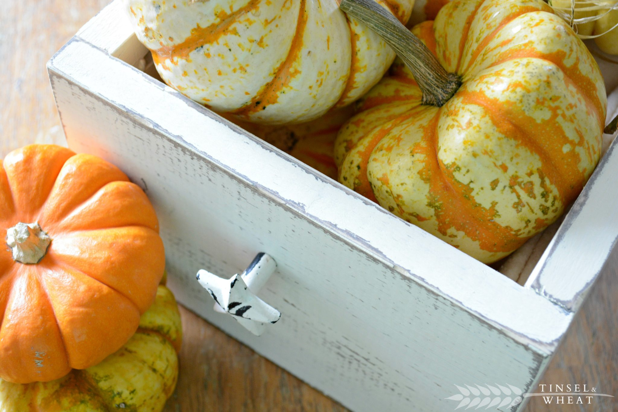 DIY Wood Box Centerpiece Filled with Pumpkins