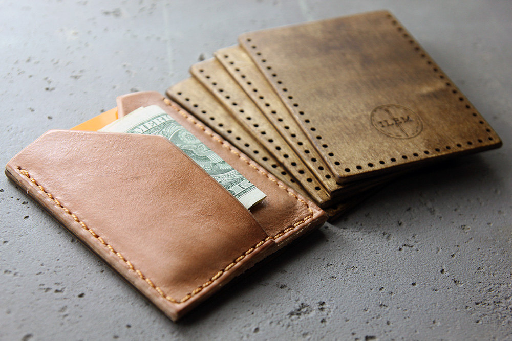Leather and Wood Wallet