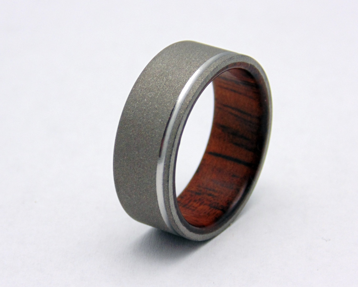 Titanium Blasted Wood Ring