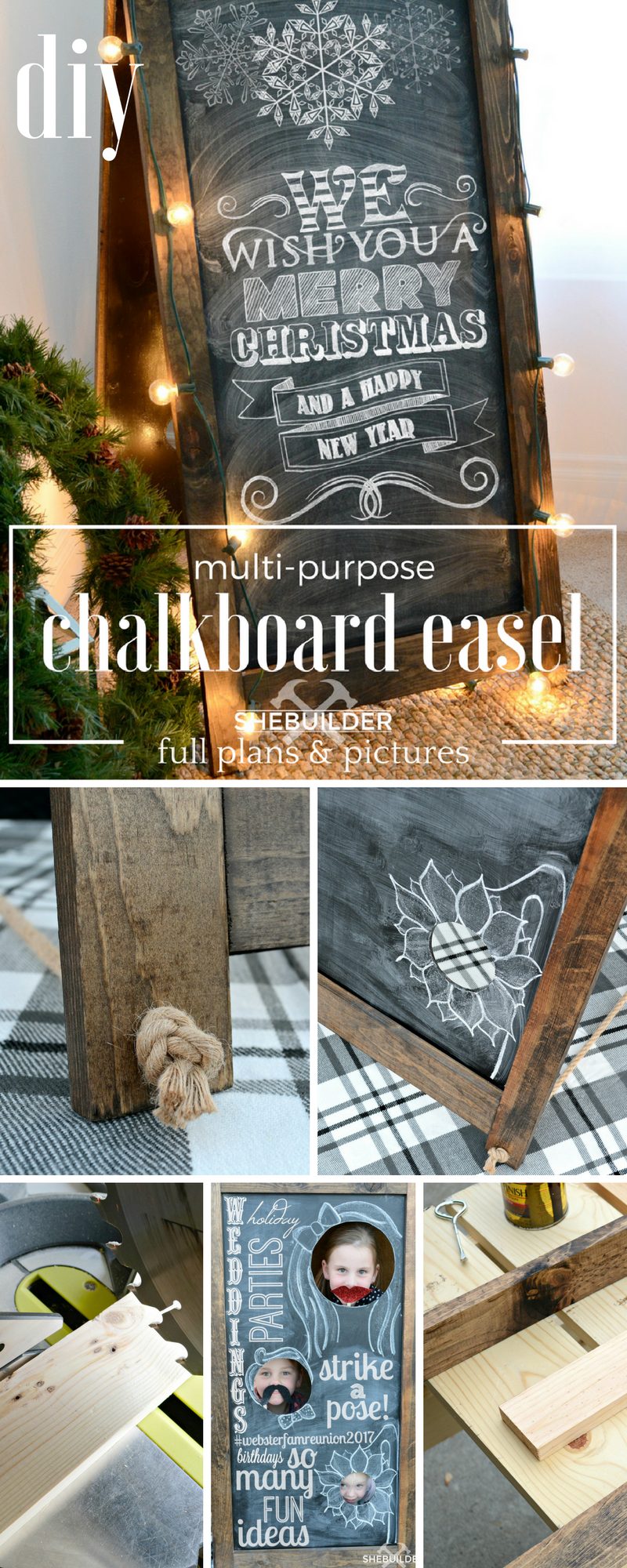 DIY Multi-Purpose Chalkboard Easel