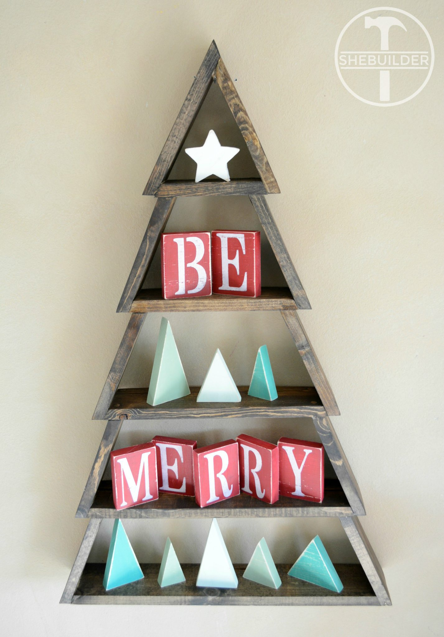 diy wood christmas tree shelf with mini star mini trees and be merry blocks