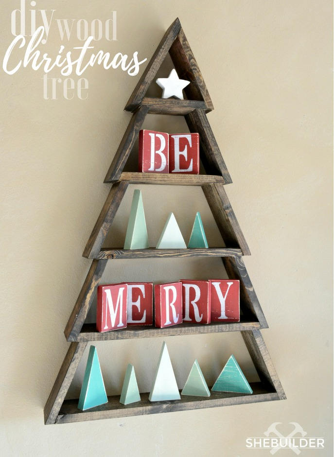 Diy wood christmas tree shelf with free plans tinsel wheat for Wood crafts to make for christmas