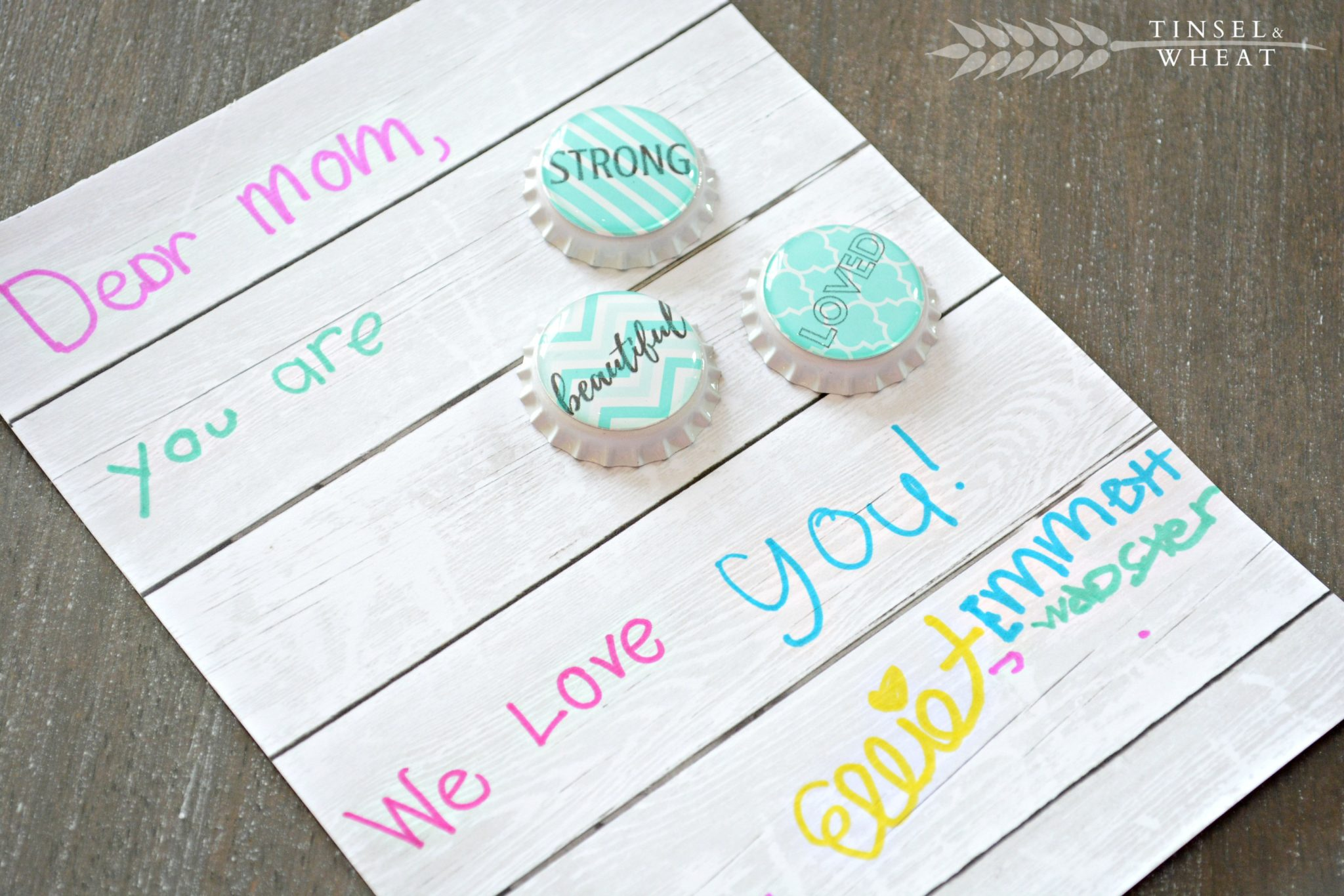 DIY Mothers Day Bottle Cap Magnets