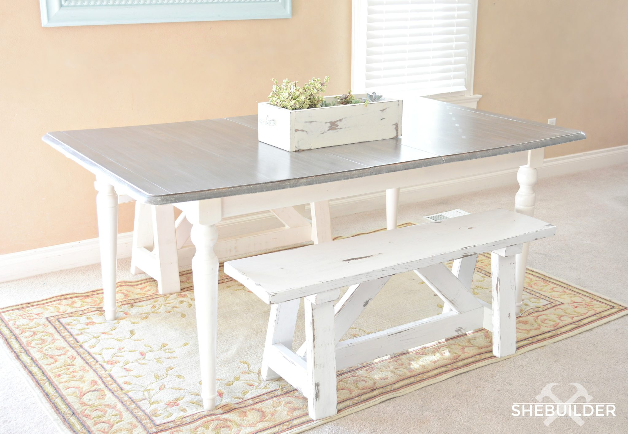Farmhouse Benches & Weathered Grey Kitchen Table