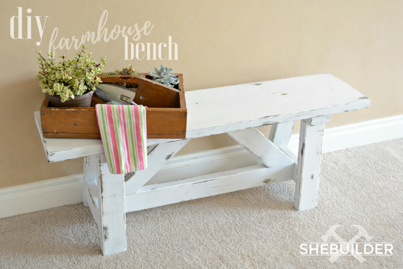 DIY Farmhouse Bench with Gardening Box