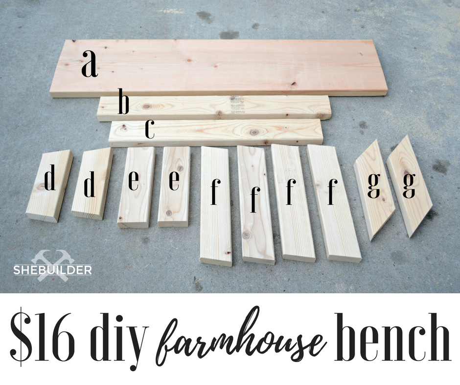 Farmhouse Bench Wood Cuts Supplies (13 Pieces of Wood)
