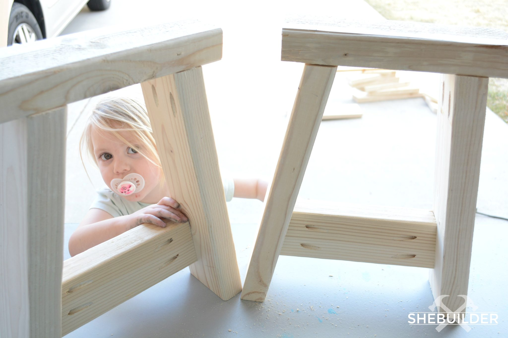 Pair of DIY Bench Legs with Toddler
