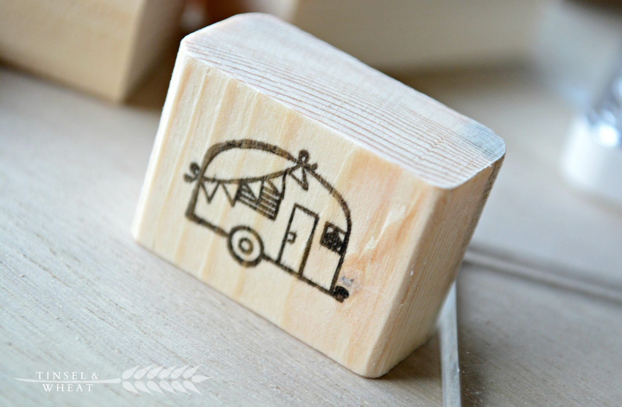 Mini camper stamped wooden block