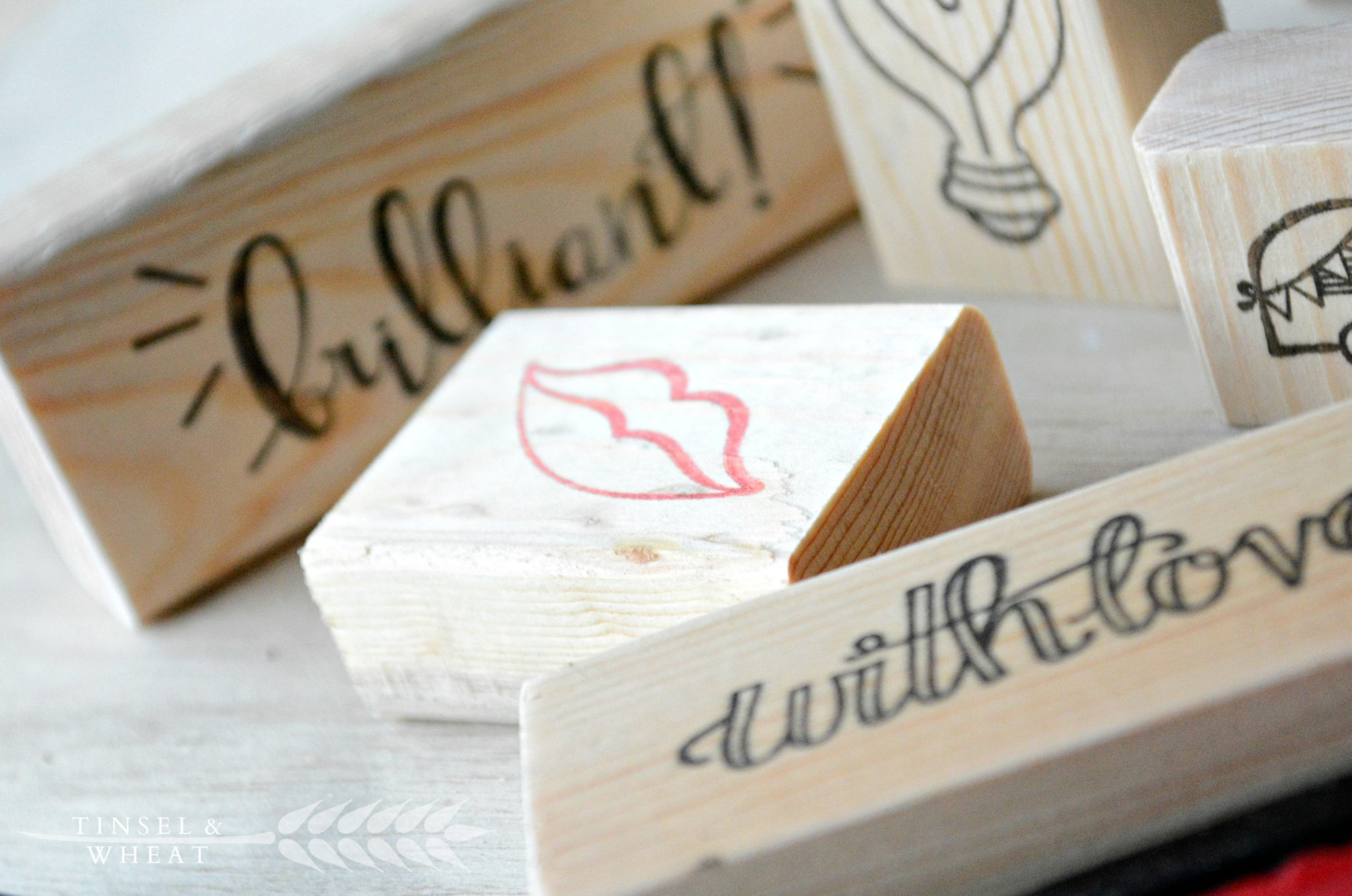 Stamped wooden blocks