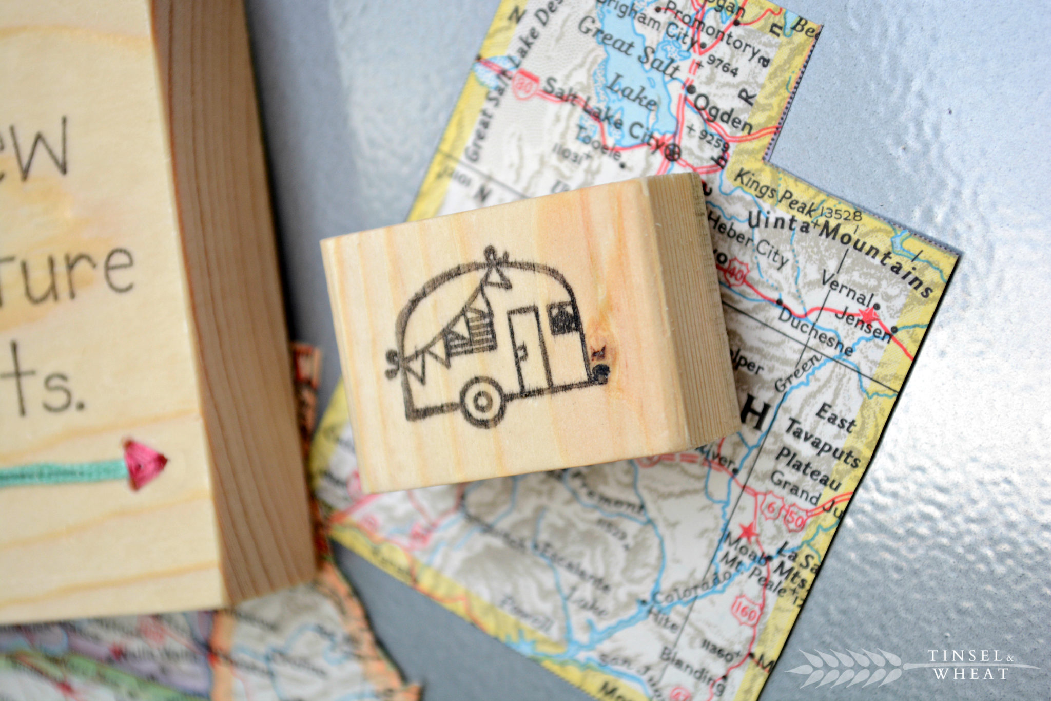 Small Wooden Stamped Camper Magnet