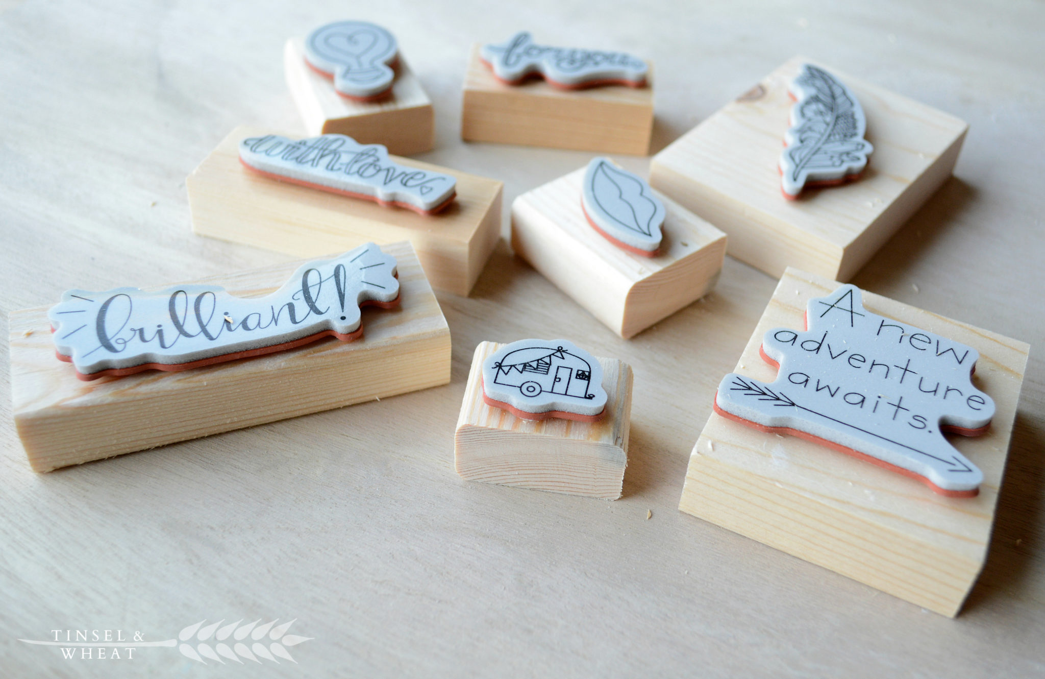 Using stamps to make wood magnets