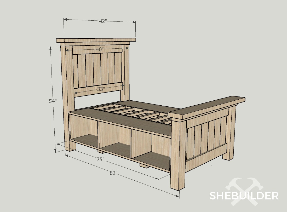 Traditional farmhouse bed build plans tinsel wheat for Farmhouse bed frame plans