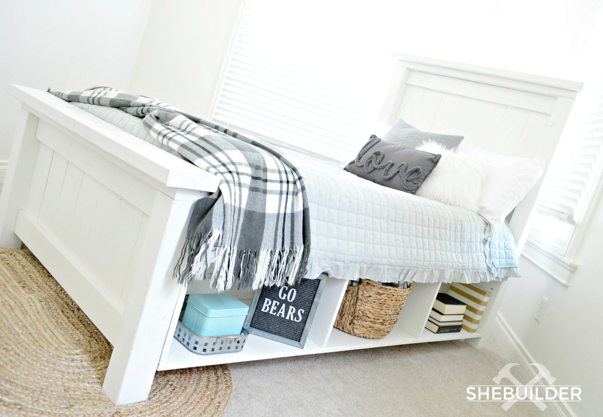 DIY Farmhouse Bed - Miranda Webster